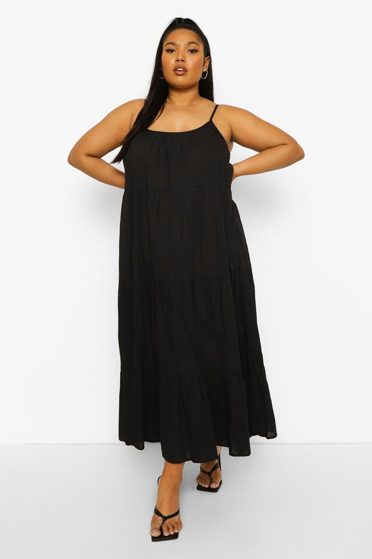 Boohoo Plus Tiered Cotton Maxi Dress