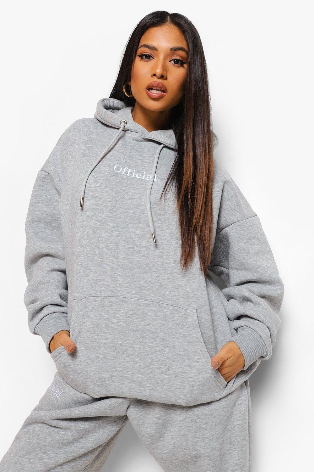 Boohoo Petite Official Oversized Embroidered Hoodie, Grey Marl