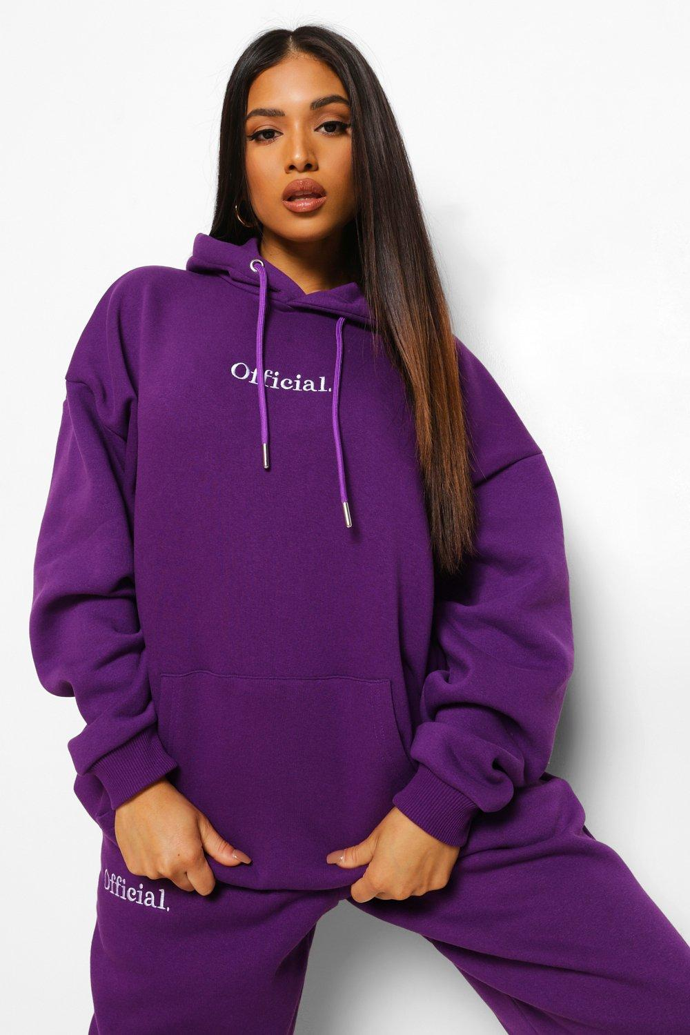 Boohoo Petite Official Oversized Embroidered Hoodie, Purple