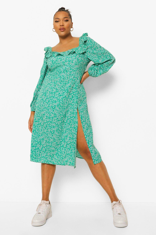Boohoo Plus Floral Print Square Neck Midi Dress