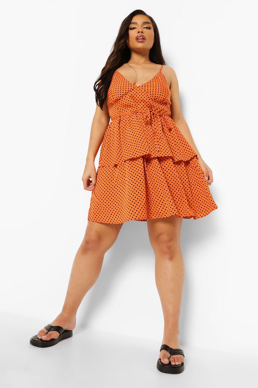 Boohoo Plus Polka Dot Belted Skater Dress