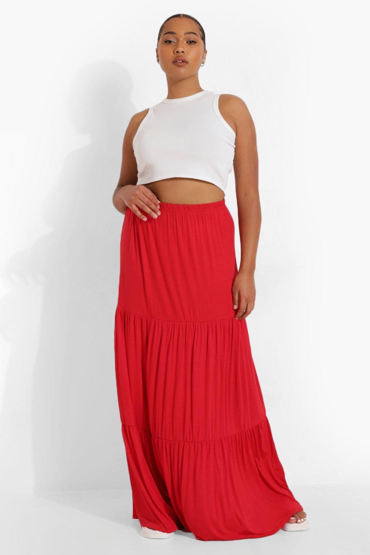 Boohoo Plus Jersey Maxi Rok Met Laagjes, Red