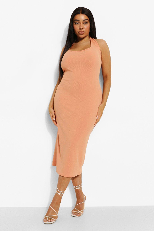 Boohoo Plus Scoop Plunge Midi Dress, Orange