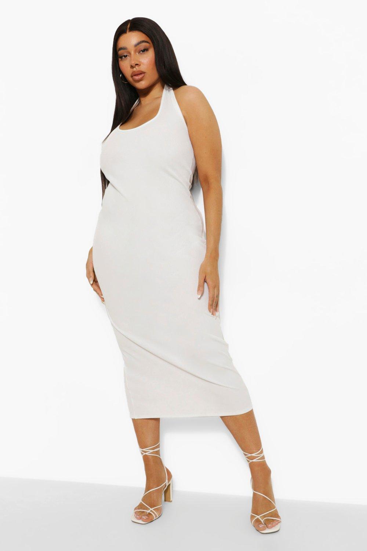 Boohoo Plus Scoop Plunge Midi Dress, White