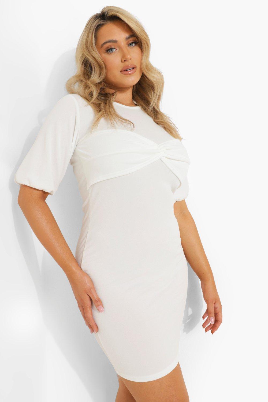 Womens Plus Kleid Mit Puffärmeln Und Twist-Detail - White - 46, White