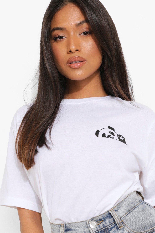 Womens Petite T-Shirt Mit Panda Print - White - L, White