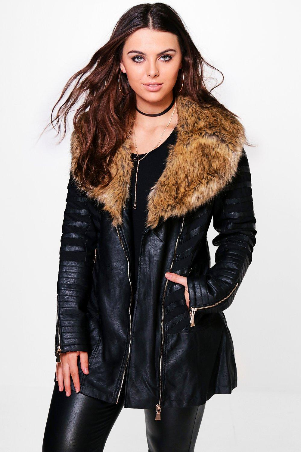 Plus Louisa Longline Fur Trim Faux Leather Jacket