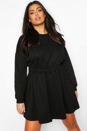 Black Plus Elasticated Waist Sweat Dress
