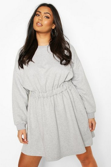 Grey marl Plus Elasticated Waist Sweat Dress