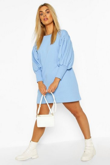 Blue Plus Puff Sleeved Sweat Dress