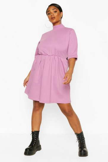 Lilac Plus High Neck Sweat Smock Dress