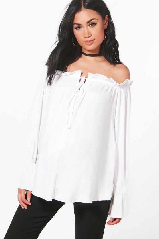 Maternity Lucy Off The Shoulder Front Tie Top