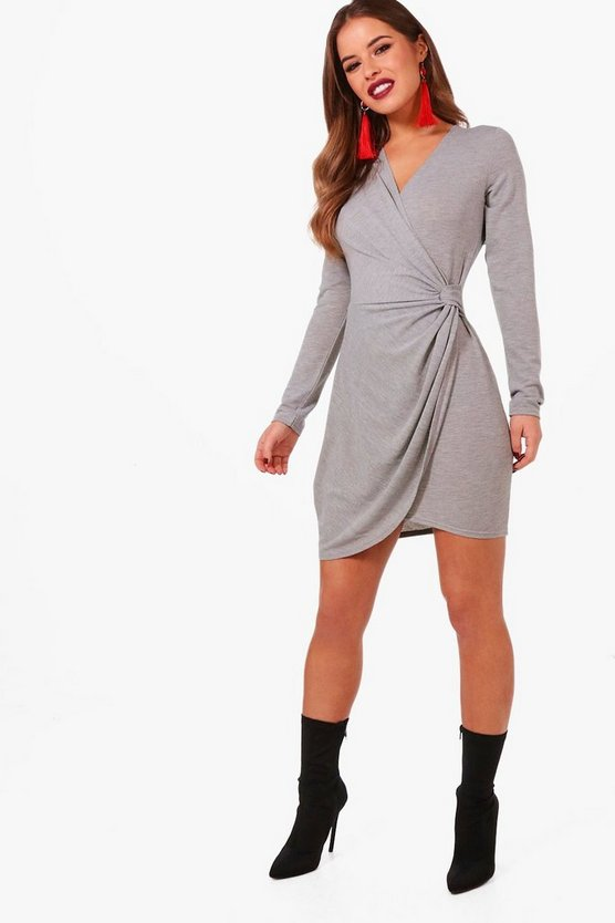Petite Roxy Knitted Drape Knot Front Dress