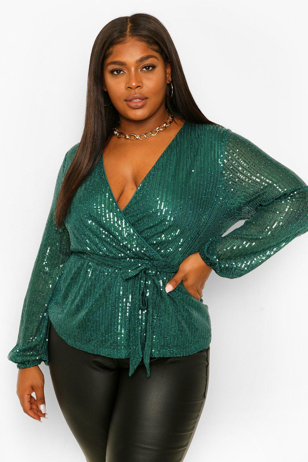Womens Plus Sequin Longsleeve Wrap Belted Top - Green - 12