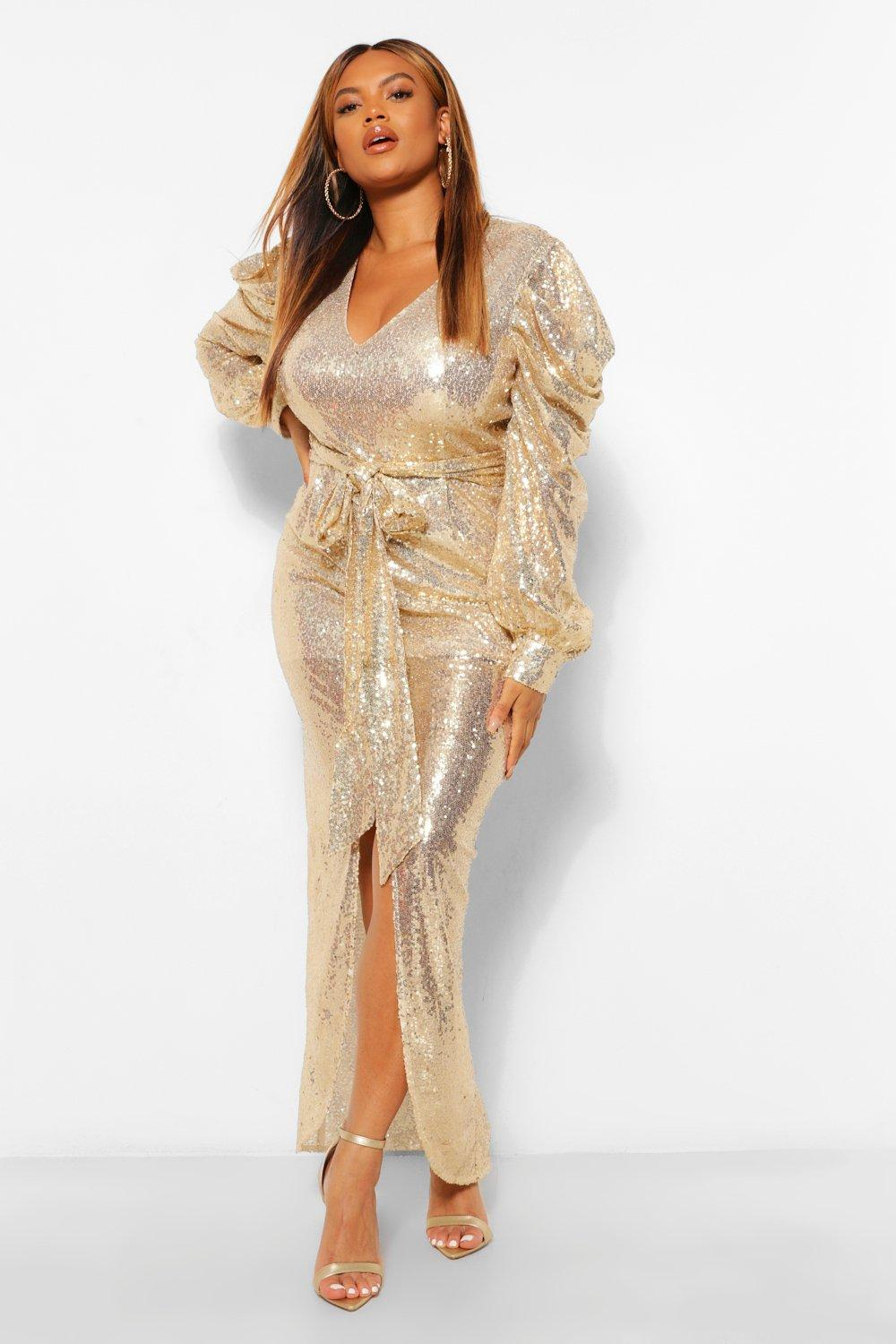 Womens Plus Sequin Puff Sleeve Tie Waist Wrap Maxi Dress - Metallics - 20