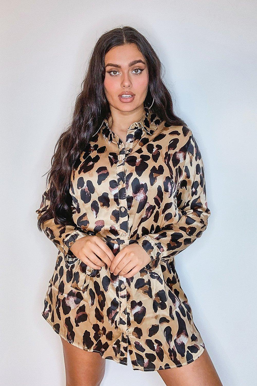 Boohoo Plus Satin Leopard Shirt Dress