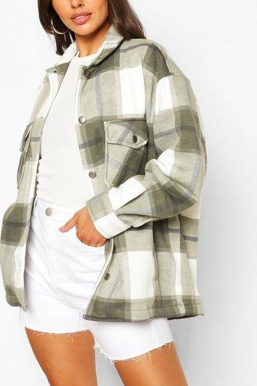 Light khaki Petite Check Shirt Jacket