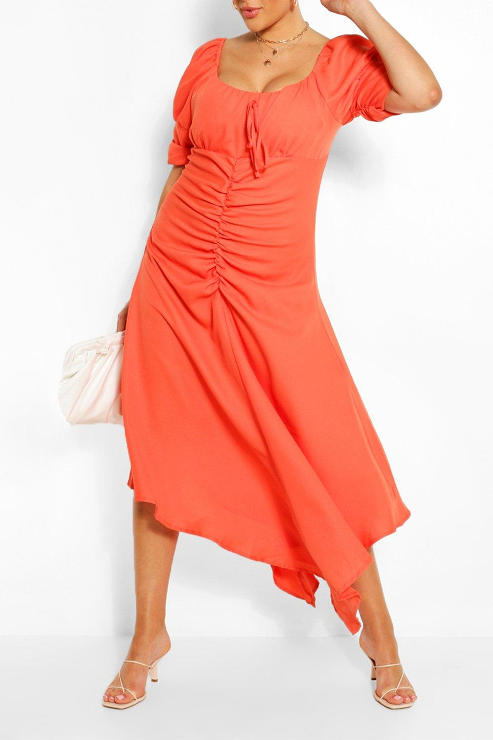 Womens Plus Ruched Detail Maxi Dress - Orange - 22