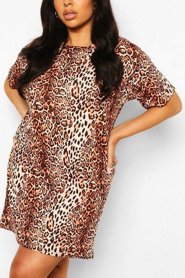 Brown Plus Leopard Oversized Tshirt Dress