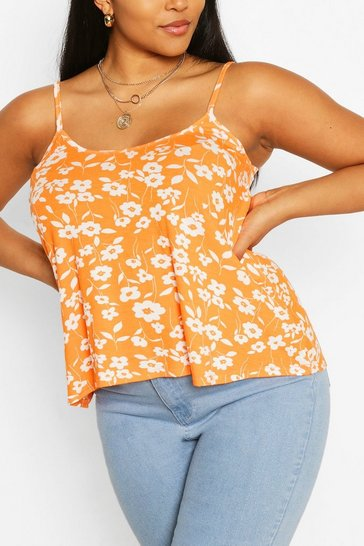 Orange Plus Mono Floral Swing Cami