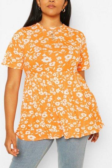 Orange Plus Mono Floral Smock Top