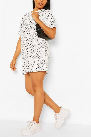 Ivory Plus Polka Dot T-Shirt Dress