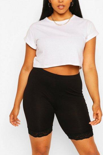 Black Plus Lace Hem Cycle Shorts