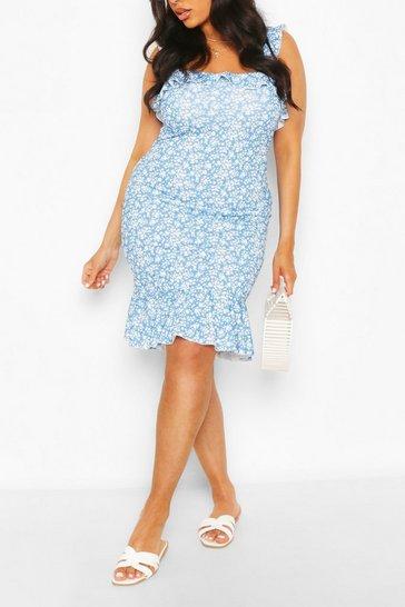 Blue Plus Floral Strappy Dress