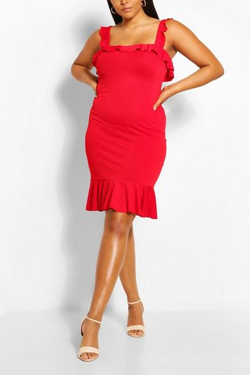 Red Plus Plain Strappy Dress