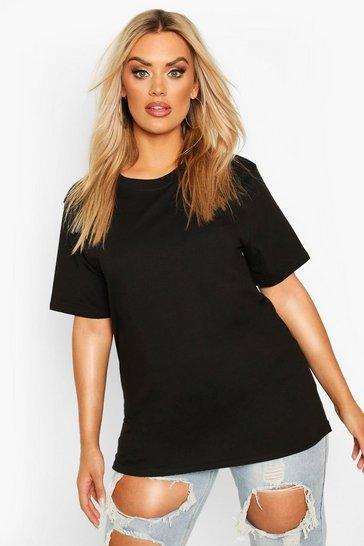 Black Plus Basic Crew Neck T-Shirt