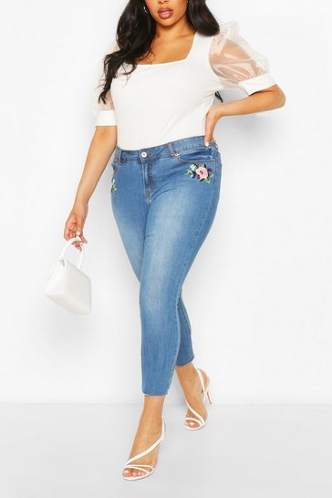 Blue Plus Embroidered Floral Patch Skinny Jeans
