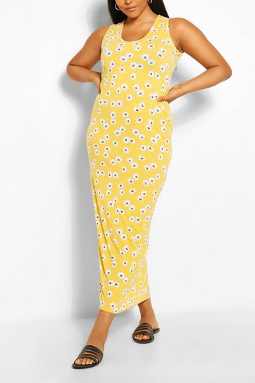 Yellow Plus Floral Scoop Neck Maxi Dress