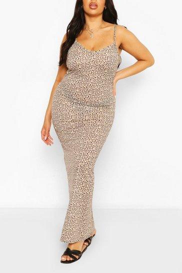 Ivory Plus Dalmatian Strappy Maxi Dress