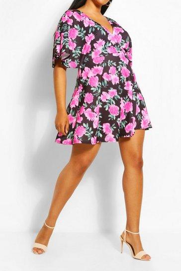 Pink Plus Wrap Angel Sleeve Mini Dress