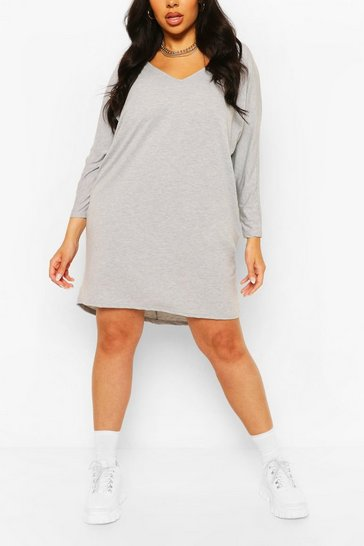 Grey marl Plus Long Sleeve Basic T-Shirt Dress