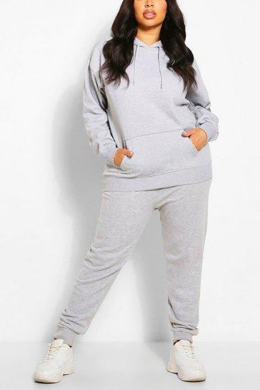 Grey Plus Oversized Basic Hoody