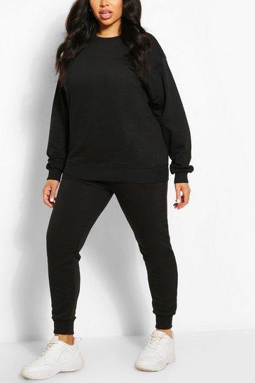 Black Plus Oversized Basic Sweat
