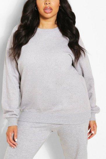 Grey Plus Oversized Basic Sweat