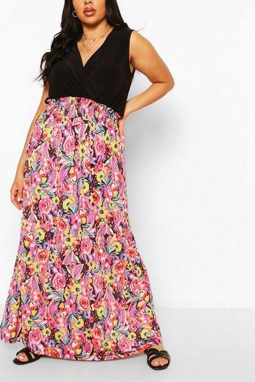Fuchsia Plus Floral Printed Contrast Maxi Dress