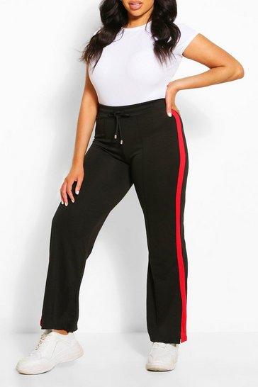 Red Plus Stripe Side Wide Leg Joggers