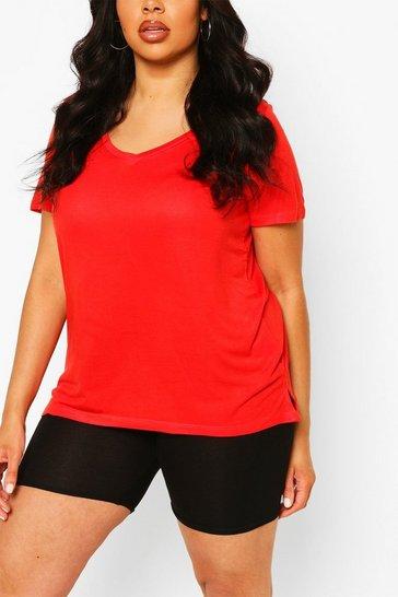 Red Plus Basic V Neck T-Shirt