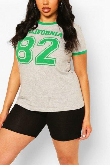 Grey Plus Cali 82 Slogan Ringer T-Shirt