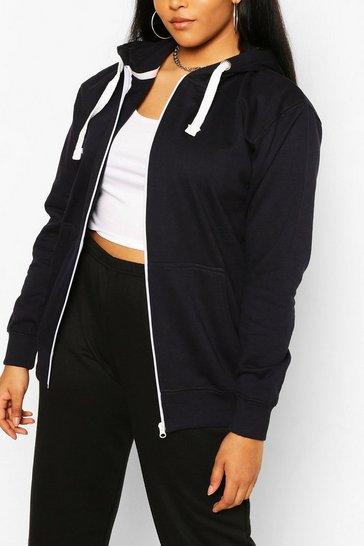 Navy Plus Oversized Basic Zip Through Hoodie
