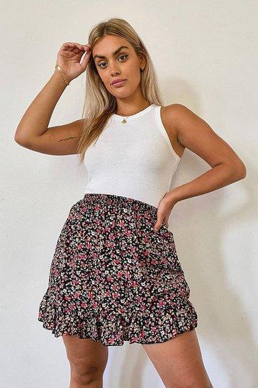 Black Plus Ditsy Floral Ruffle Hem Woven Skater Skirt