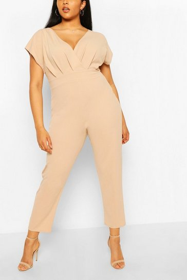 Stone Plus Off The Shoulder Wrap Belted Jumpsuit