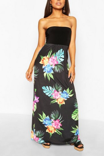 Black Petite Bandeau Floral Maxi Dress