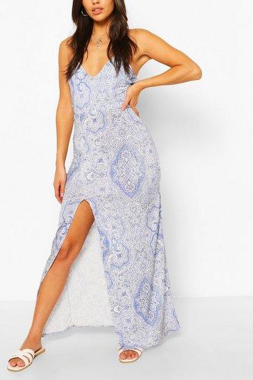Blue Petite Paisley Print Split Maxi Dress
