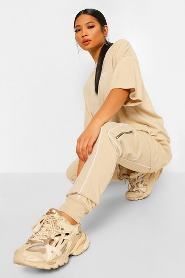 Stone Petite Piping Front Pocket Detail Jogger