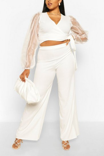 White Plus Organza Sleeve Wrap Tie Top & Trouser Co-ord