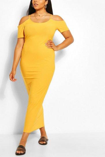 Mustard Plus Cold Shoulder Jersey Maxi Dress